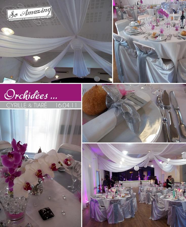 Cuisine Blanche Et Wenge : Idées centre de table mariage fleurs orchidées  Rose fushia violet