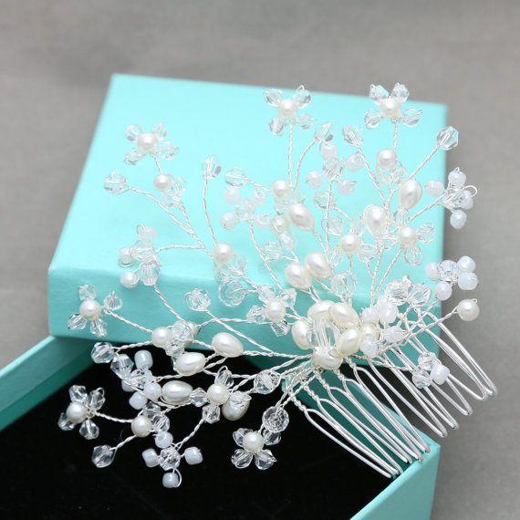 Peine flor perla peine, peine boda, nupcial peine, peine de perlas, casco Vintage, pedazo de pelo de flor, peine flor