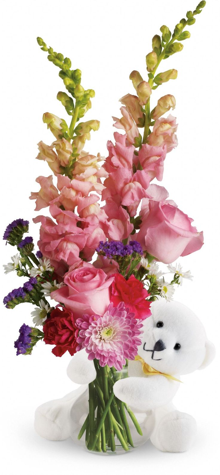 Teleflora's Bear Hug Bear with Pink Roses