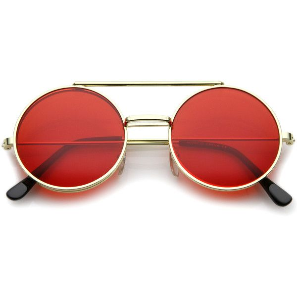 Steampunk vintage circle round flip up vintage sunglasses 8793 (£12) ❤ liked on Polyvore featuring accessories, eyewear, sunglasses, glasses, red, circular sunglasses, vintage sunglasses, red lens glasses, uv protection sunglasses and round sunglasses