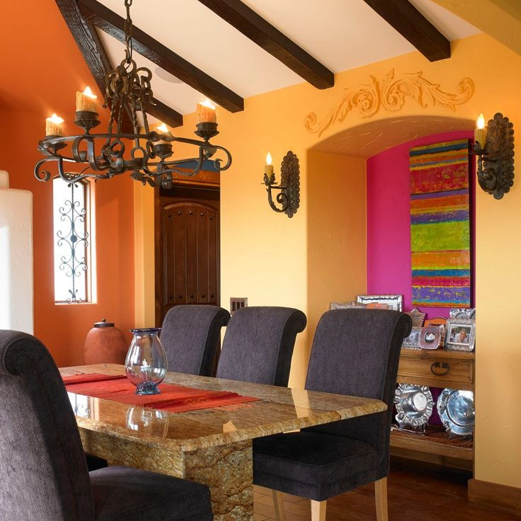 rust colored walls dining room southwestern with orange walls southwestern mugs