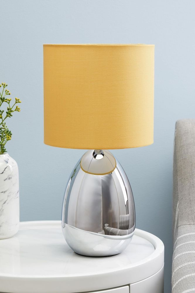 Chrome Droplet Base Touch Table Lamp Yellow Mustard Modern Reading Bedside Light Touch Table Lamps Bedside Lighting Lamp
