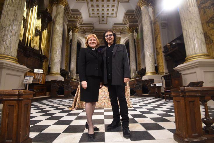 Tony Iommi and Reverend Catherine Ogle inside Birmingham Cathedral...