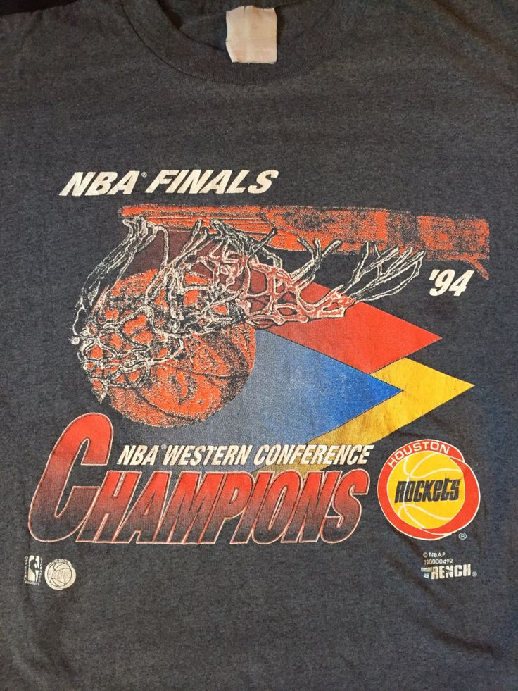 A personal favorite from my Etsy shop https://www.etsy.com/listing/241912802/vintage-houston-rockets-1994-nba-finals