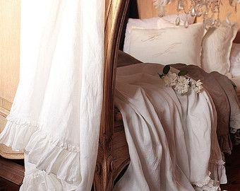 Ropa de cama ropa de cama Shabby Chic 'Diane' - estilo de verano manta-Vintage - lino throw - manta - la bufanda