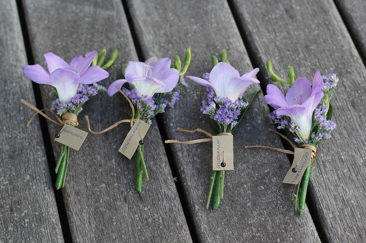 freesia buttonholes www.wanakaweddingflowers.co.nz