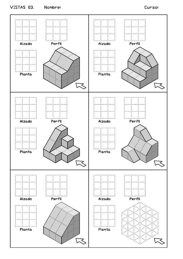 Ejercicios De Vistas Y Perspectivas Alzado Derecho Piezas Con Rampas Vistas Dibujo Tecnico Ejercicios De Dibujo Dibujo Tecnico Ejercicios