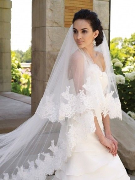 13 New Fashion White Cathedral 2T Lace Purfle Bridal Wedding Veil Free Comb
