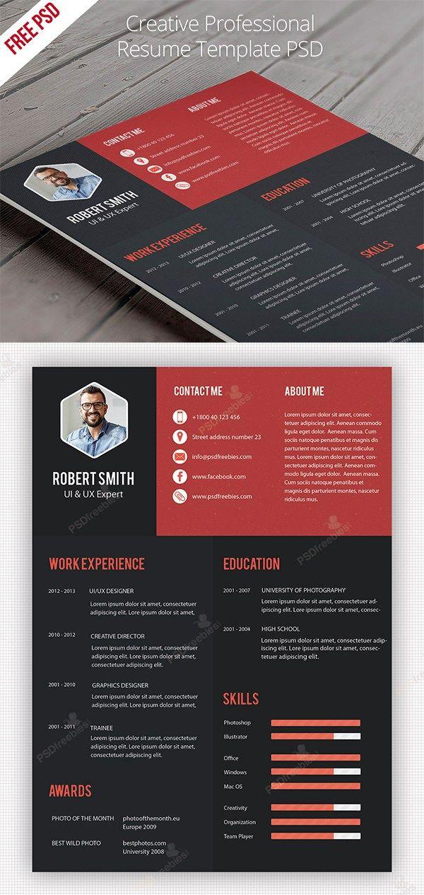 Free Creative Professional Resume  #CV #Resume #PSD #Templates