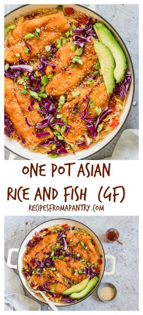 One Pot Asian Rice and Fish is an easy dinner recipe your whole family will love. It's a tasty basa fish recipe with Asian BBQ sauce, rice, and vegetables. #onepotmeals #fishrecipe #basafish #asianrice #onepotdinner