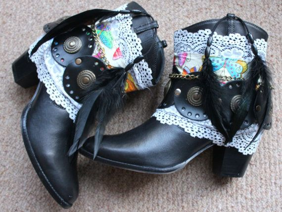 Black Leather cowboy boots US size 8 by rougepony on Etsy,   120.00