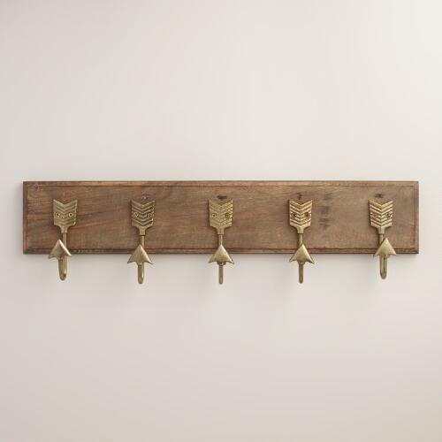 One of my favorite discoveries at WorldMarket.com: Brass Metal Arrow 5 Hook Wall Storage