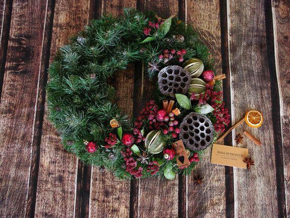 Christmas Wreath for front door. Winter by WorkshopByInnaSt