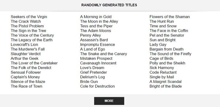 Random Story Title Generators! - The Puppet Show