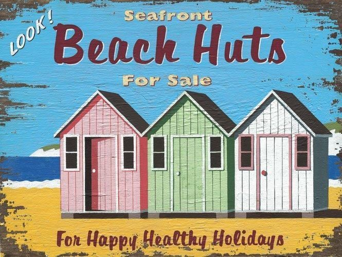 Seafront Beach Huts For Sale Metal Sign, beach house sign, retro beach decor #Americana