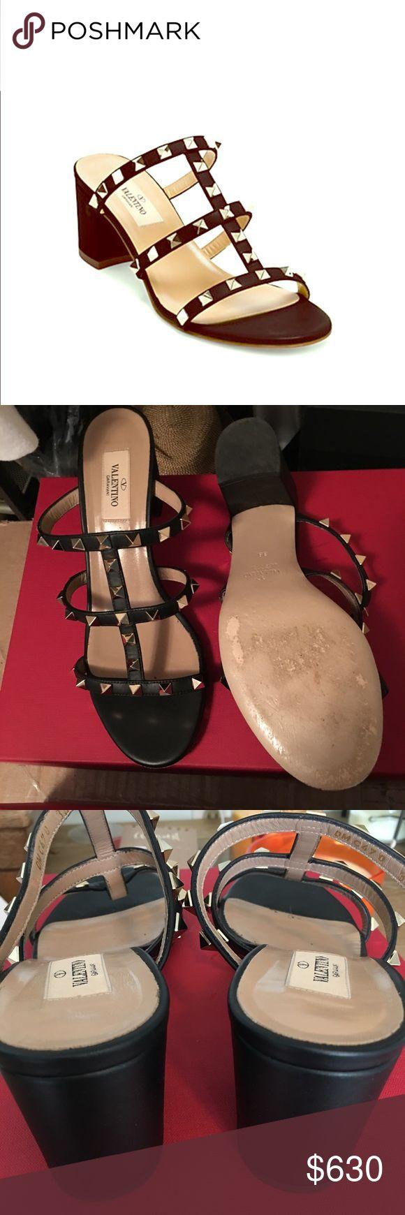 Valentino Rockstud heels Beautiful!! Valentino Rockstud Block Heel Slides...Worn once to a gala...Original price $795... Valentino Shoes Heels