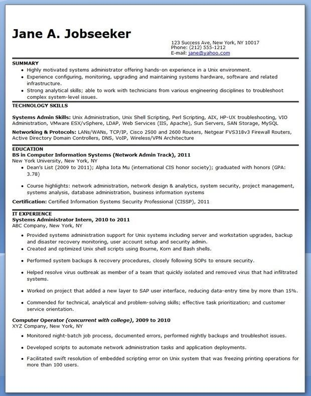 Systems Administrator Resume Sample Entry Level Resume Downloads System Administrator Sample Resume Resume Examples