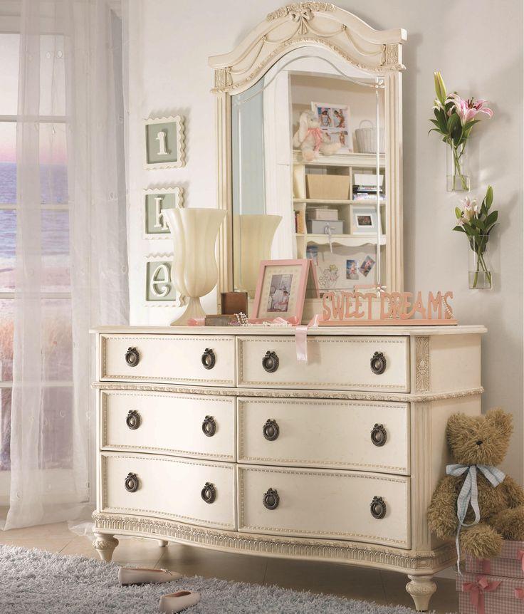 Emmas Treasures Six Drawer Dresser U0026 Vertical Mirror Combination With  Ribbon Motif By Lea Industries