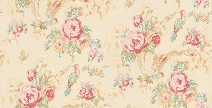 Bird in the Bush (BIRWP01) - Anna French Wallpapers - Just as the title says,this design has pretty birds and butterflies in rose laden bushes. Shown in the rose red, green and neutral colourway.  Please ask for sample for true colour match.
