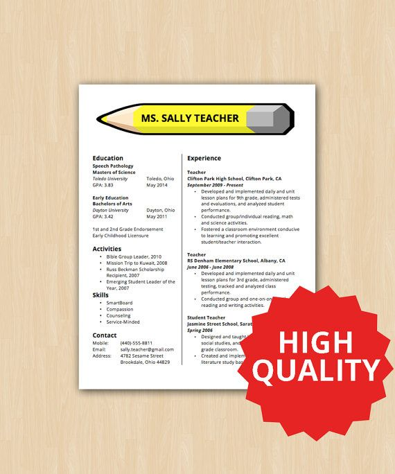 After Another Long Draught Without Any New Templates, We Present The  Elementary School Teacher Resume  Sample Teaching Resume