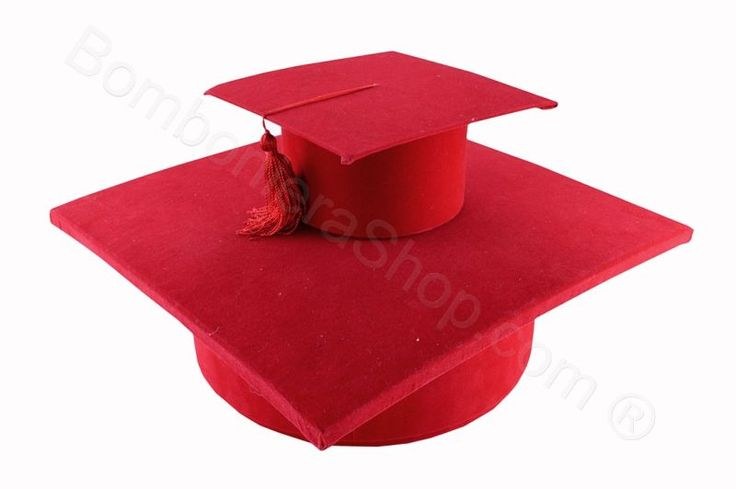 Tocco laurea Grande rosso con nappina rossa espositore bomboniere (ET)