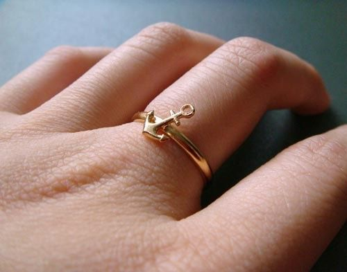 ahoy  gold  anchor stacking ring  size 6 by trystbykerry on Etsy, $30.00