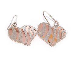 Cercei argint rodiat 925, placat cu aur roz, design italian. Model diamantat cu aur alb