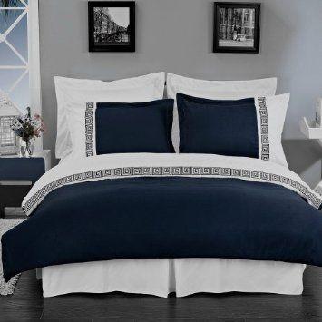 amazoncom hotel style greek key navy blue and white microfiber duvet cover set