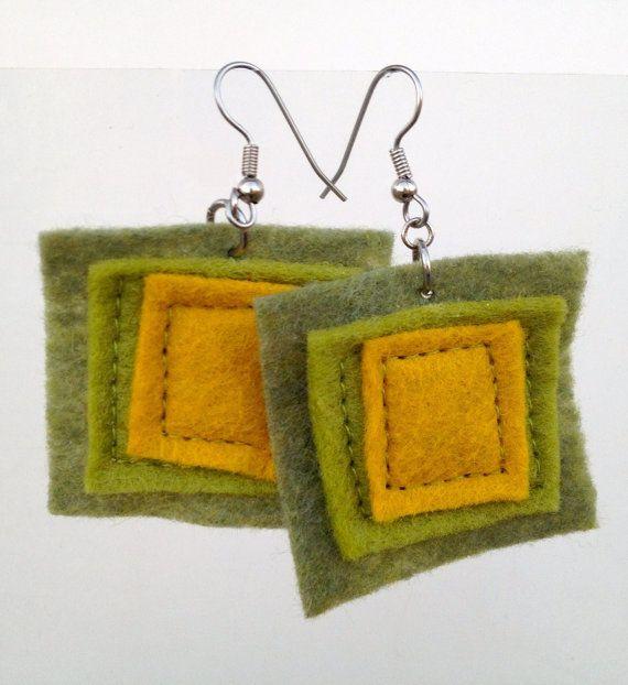 Felt Square Earrings in Olive and Mustard by JulieMarieSink, $7.00