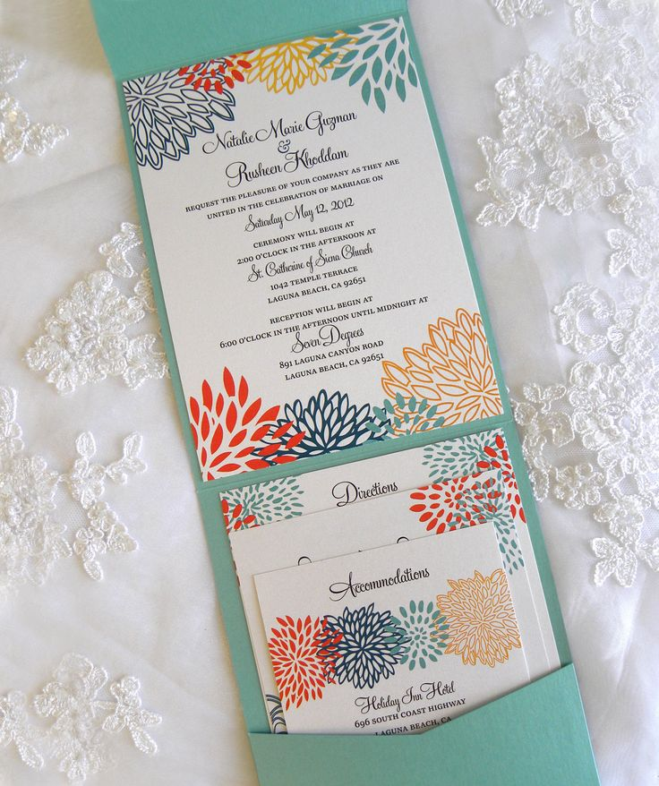 34 best wedding invites images on pinterest invitations aqua teal orange and yellow floral pocket invitation suite via etsy stopboris Images