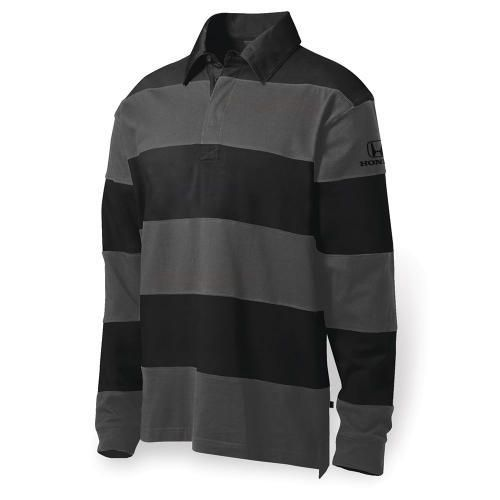 Men's Rugby Shirt. 100% cotton twill, long sleeved, collared shirt with rib cuff and hidden button placket. Honda logo embroidered in black on left bicep.