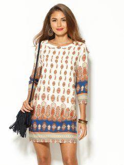Vestido túnica estampado hindú de algodón                                                                                                                                                                                 Más