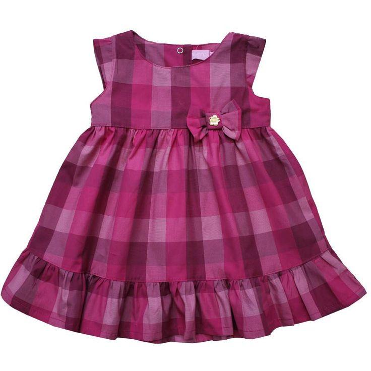 Cegonha Feliz Tamanho 1 ao 3 : Vestido Xadrez Infantil Momi