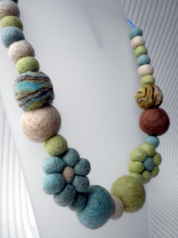 Love London Wool Felt Flowers and Bead Necklace via Etsy.