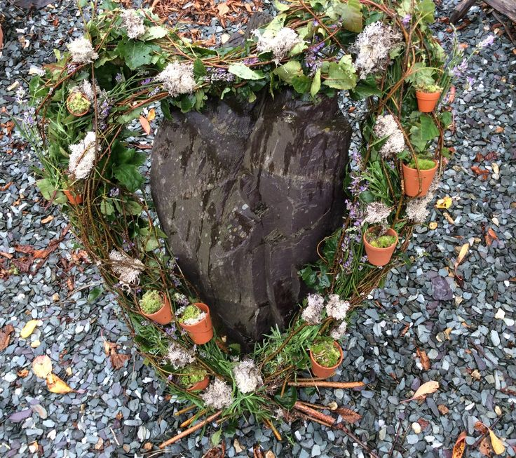 Giant Heart made from silver birch and lavender.  Gailarmytage.co.uk
