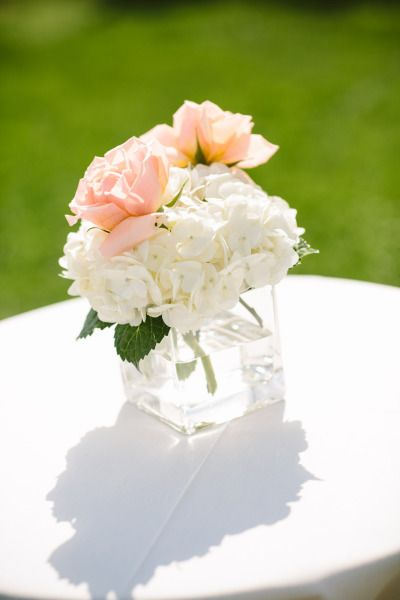 Hydrangeas and roses: http://www.stylemepretty.com/new-hampshire-weddings/2014/09/22/darling-summer-new-hampshire-wedding-at-the-wolfeboro-inn/ | Photography: Shane Godfrey - http://shanegodfreyphotography.com/