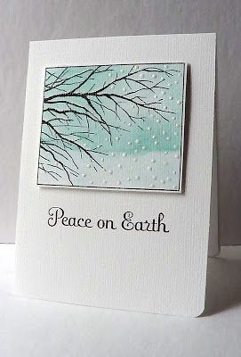 #papercraft #cards #Christmas  Sponged BG (masked with sticky note after stamping)