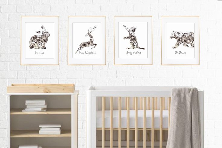 A personal favorite from my Etsy shop https://www.etsy.com/listing/545258493/nursery-print-set-cat-bear-rabbit-and