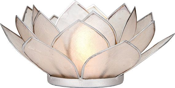 White 3-Layer Capiz Lotus Candle Holder Silver by TaaraBazaar