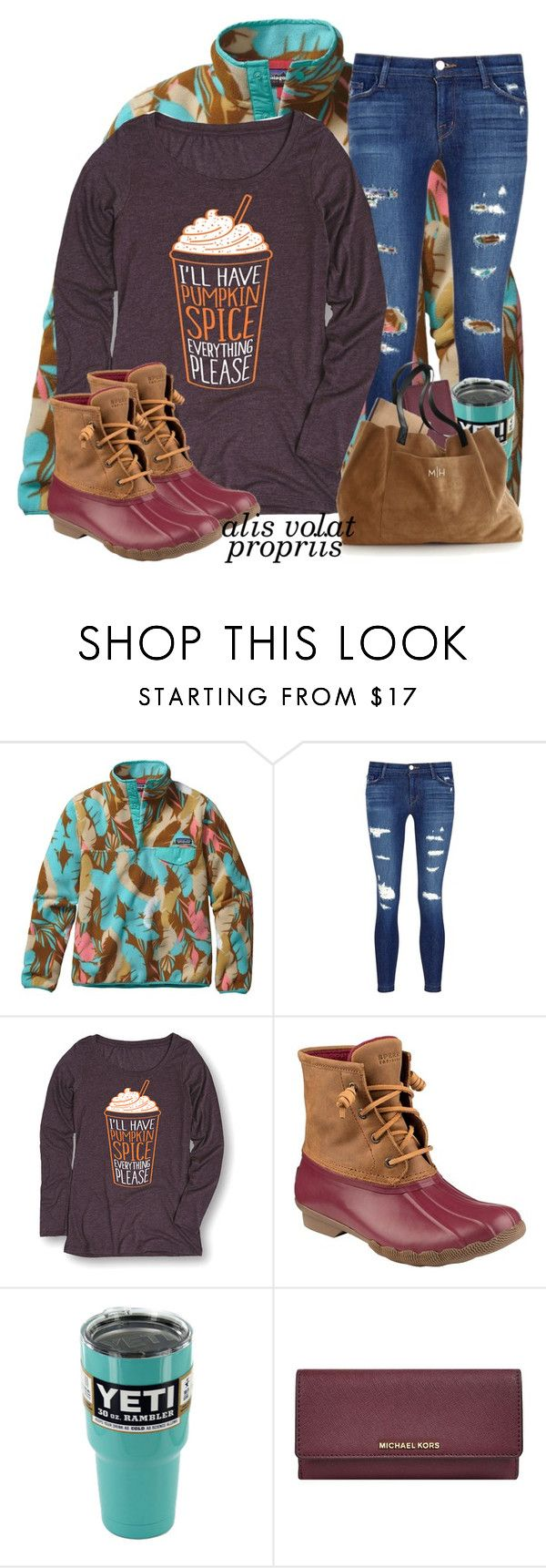 """ootd"" by annagraceshep ❤ liked on Polyvore featuring Patagonia, J Brand, Sperry, MICHAEL Michael Kors and Mark & Graham"