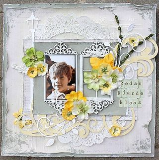 """Already Fourth Grade"" is a beautiful BACK TO SCHOOL layout created by DT member Helena Johansson.  See the entire layout and how to make it on our Blog!  http://petaloo.typepad.com/blog/2012/08/already-fourth-grade.html"