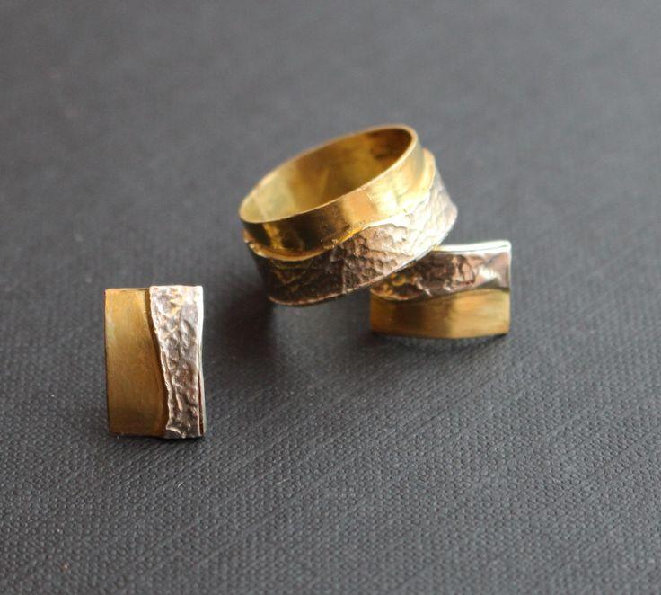stříbro, zlacené stříbro, prsten, náušnice