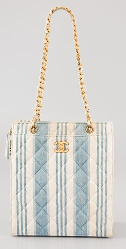 WGACA Vintage: this authentic vintage Chanel denim handbag features quilting and stripes.