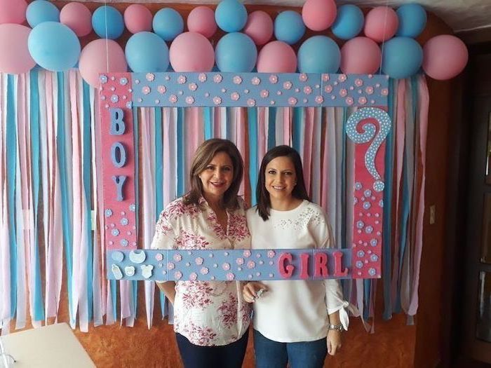 Pink Blue Balloons Photo Frame Boy Girl Gender Reveal Ideas Pinterest Two Wome Gender Reveal Decorations Baseball Gender Reveal Gender Reveal Party Decorations
