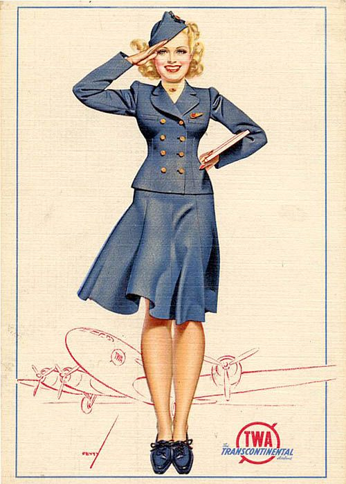 Flying the friendly skies with TWA. #airliness_hostess #stewardess #vintage #1940s #WW2