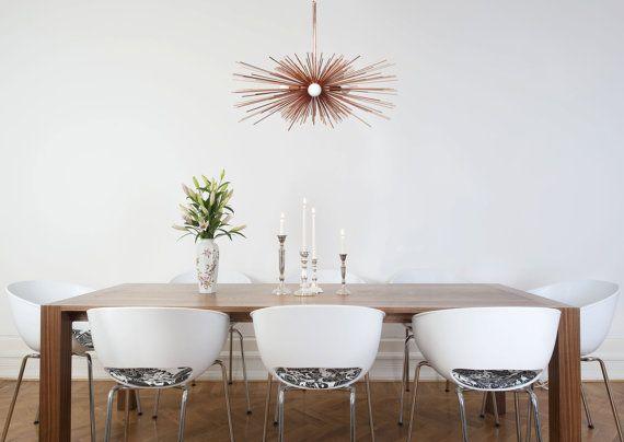 3-Bulb Copper Urchin Chandelier  Lighting Midcentury Modern