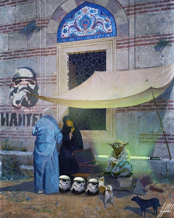 #famous #painting #osmanhamdibey #starwars #universe #ottoman #yoda #art #artwork #photomanipulation   What If Ottomans were from the Star Wars Universe?  Arzuhalci / Public Scribe painting by Osman Hamdi Bey.