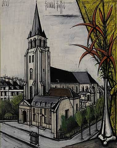 History of Art: Bernard Buffet L'église Saint-Germain des Pres 1988