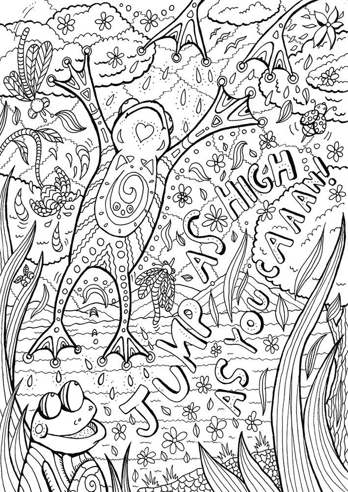 Frog Coloring Page Adult Book Printable Instant Download Art Therapy Zentangle