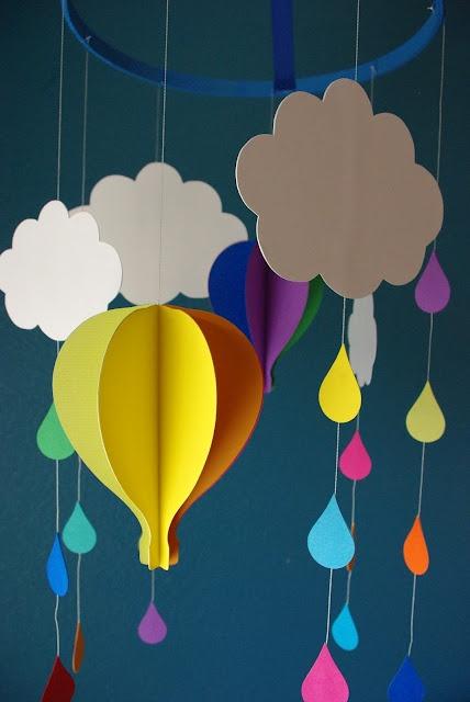 Balloon and cloud mobile, mobile pour bébé montgolfière et nuages